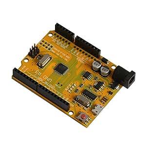 Pixnor Junta de desarrollo profesional USB Micro Socket ATmega328P para Arduino UNO R3 (amarillo)