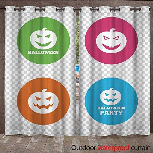 RenteriaDecor 0utdoor Curtains for Patio Waterproof Halloween Party Icons Pumpkin Symbol W72 x L108 ()