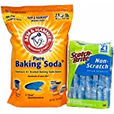 Baking Soda & Scrub Sponges - Bundle of 2 Items - Arm & Hammer Pure Baking Soda (13.5 lbs) and Scotch-Brite Non-Scratch Scrub Sponges (21 Pack)