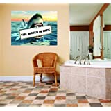 The Water Is Nice Angry Shark Teeth Warning Pool Sign Home Decor Graphic Design Picture Peel & Stick Sticker Wall - Best Selling Cling Transfer Decal Color582Size : 40 Inches X 60 Inches - 22 Colors Available