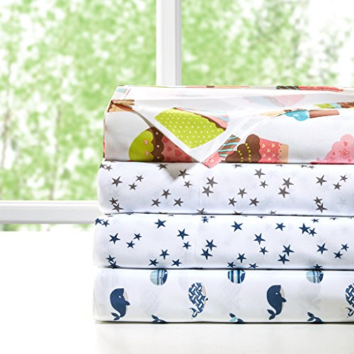 Printed Queen Sheets, Casual Microfiber Bed Sheets, Blue Cool Sheet Set 4-Piece Include Flat Sheet, Fitted Sheet & 2 (Whale Sheets)