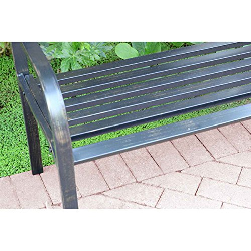 Nice Looking, Sturdy and Durable 50-inch Long Scroll Curved Back Steel Park Bench With Weather-Resistant And Maintenance Free So You Can Sit Back And Relax - Assembly Required