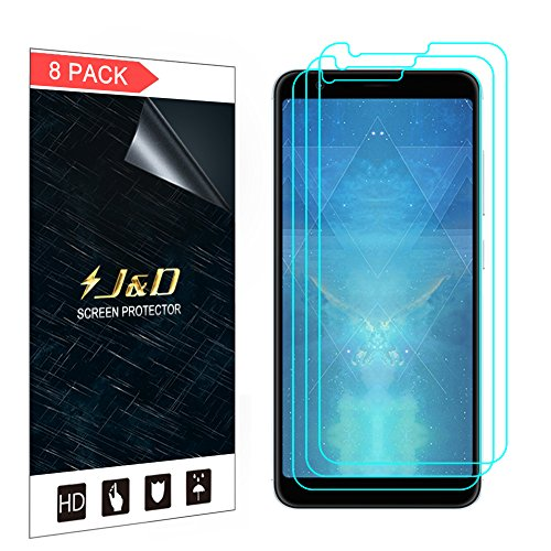 J&D Compatible for 8-Pack ZenFone Max Plus (M1) Screen Protector, [Not Full Coverage] Premium HD Clear Film Shield Screen Protector for ASUS ZenFone Max Plus (M1) Crystal Clear Screen Protector