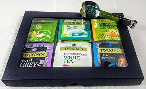 Twinings Tea - Caja de té de lujo, color negro, 20 sabores, 35 bolsas de té envueltas con exprimidor de bolsitas de té de acero inoxidable. Regalo perfecto para té, caja de