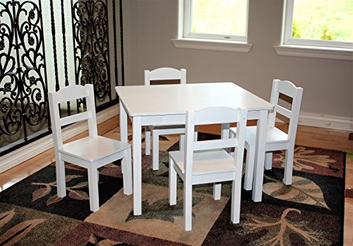 Kidz Room - Kids Wood Table and 4 Chairs Set, White (Cloud Collection) by Kidz Room