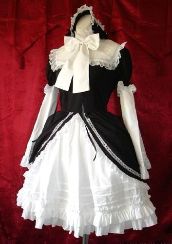 38eeabbd6 ゴスロリィタ Lolita ロリータ服 衣装 洋服 COSMAMA LLTLZY0037 ブラックとホワイト 袖の取り外しが可能