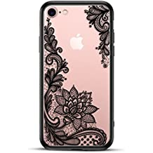 Q-Shox Apple iPhone 8 / 7 Case for Girls Women - Matte Clear Phone Case - Cute Black Floral Design - Shockproof Protective Slim - Ultra Thin Hard Back Cover - Rubber Bumper Cool Flower Henna Designs