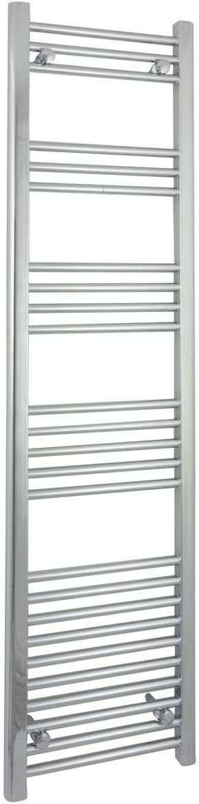 Myhomeware 400mm Wide 1600mm High Flat Chrome Electric Pre-filled Heated Towel Rail Stylish Bathroom Straight Radiator With GT Thermostatic