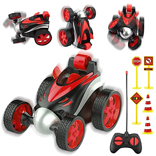 Remote Control Car for Kids, 360 Degree Rolling Dancing Performance Rotation Racing Car ,Rc Vehicle Four Wheel Stunt Car Toy for Boys and Girls (Red)