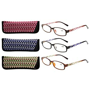 Eyekepper Readers 3 Pack of Womens Reading Glasses With Beautiful Pattern And Soft Case For Ladies +1.25