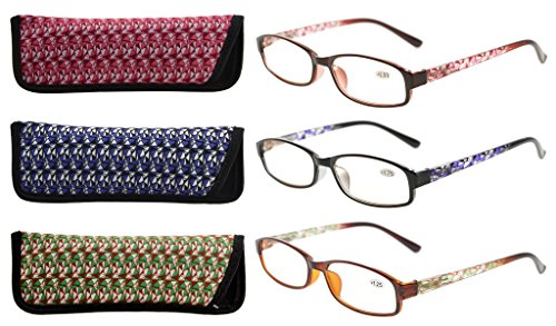 Eyekepper Readers 3 Pack of Womens Reading Glasses With Beautiful Pattern And Soft Case For Ladies - Ladies Glasses