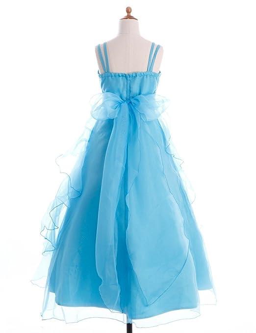 FAIRY COUPLE Vestido asimétricos con Volantes Niñas Chicas de flor de la Boda Fiesta K0044 14 Azul Celeste: Amazon.es: Ropa y accesorios