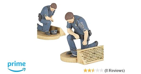 Dicksons Police Officer's Prayer, Kneeling in Uniform 4 5 x 5 5 Resin Stone  Tabletop Figurine