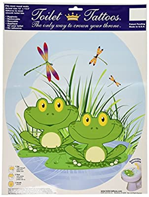 Toilet Tattoos, Toilet Seat Cover Decal, Floating Frogs, Size Round