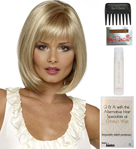 Bundle - 5 items: Petite Paige Wig by Envy, 15 Page Christy's Wigs Q & A Booklet, 2oz Travel Size Wig Shampoo, Wig Cap & Wide Tooth Comb COLOR: Medium Blonde by Envy & Christy's Wigs