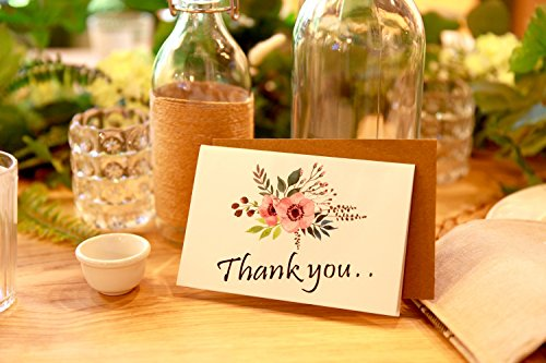 Thank You Cards Floral Flower Greeting Cards - 48 Assorted Bulk Box, 6 Design Blank Inside 4 x 6 inch- Brown Craft Envelopes Included Photo #4