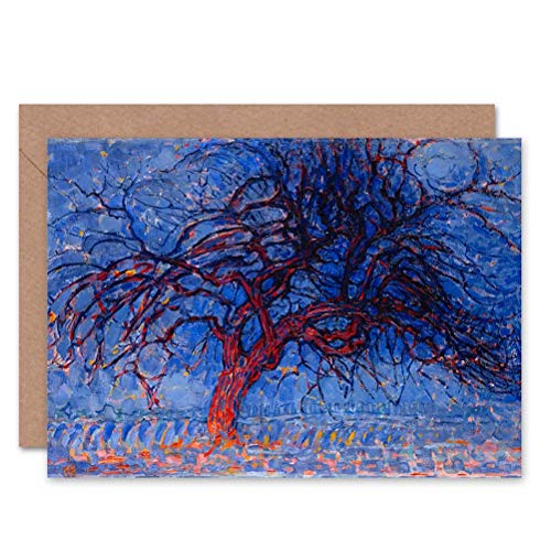 Wee Blue Coo PIET Mondrian 1908 Evening RED Tree Painting Art Greetings Card ()