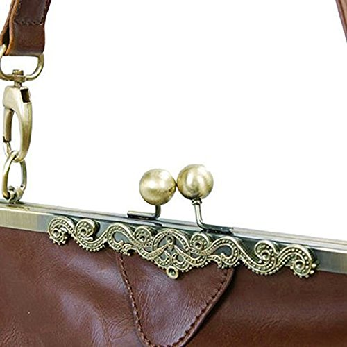 Satchel Totes Retro Minimalist Kiss Vintage Women Bag Handbag Leather Handnbag Abuyall Bag Imitation Lock Shoulder M Purse HZFTwcIq