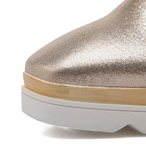 Absatz Golden Zehe AllhqFashion Rein Schuhe auf PU Leder Mittler Damen Ziehen Quadratisch Pumps O7qcWIH7