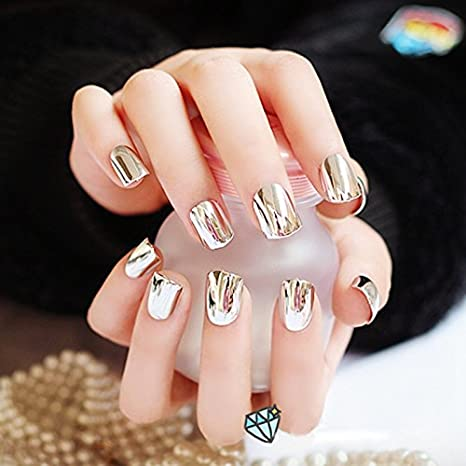 Amazon.com : CoolNail Metal Plating False French Acrylic Nail Tips Without Nail Glue Beauty Nail For Fashion Lady Short Silver : Beauty