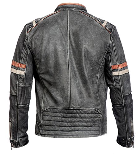 Red Retro Leather Uomo A Piumino Smoke Giacca Real 2 r1xvwr7qg