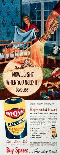 1950-ad-ray-o-vac-batteries-billioneer-flashlight-steel-madison-winnipeg-canada-original-print-ad