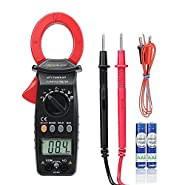 Crenova 6016A Clamp Meter 600A Multimeter Auto-Ranging Ohm Volt Amp Diode Continuity Temperature Measurements, Professional AC Current Multi Meter Tester, Large LCD Display