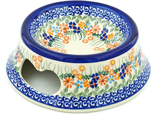 Polish Pottery Pet Bowl 9-inch (Blissful Daisy Theme) (9 Inch Daisy Bowl)