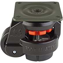 """FOOTMASTER GD-60F-BLK Nylon Wheel and NBR Pad Leveling Caster, 550 lbs, Top Plate 2 7/8"""" x 2 7/8"""", Bolt Holes 2 9/32"""" x 2 9/32"""", Black Finish"""