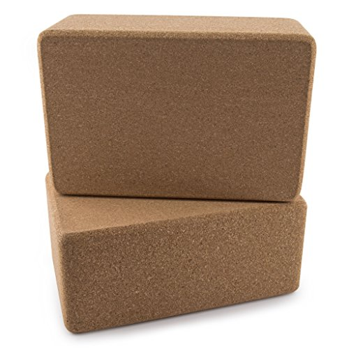 "Peace Yoga Set of 2 Cork Wood 9"" x 6"" x 4"" Yoga Blocks"