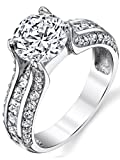 Sterling Silver and 2 Carat Round Brilliant Cut Cubic Zirconia Wedding Engagement Ring Band Size 6
