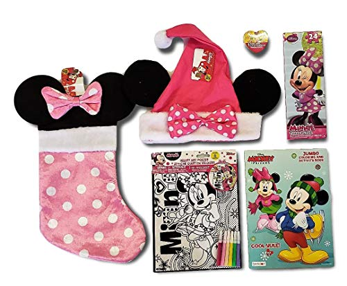 Disney Minnie Mouse Pink Polkadot Christmas Stocking & Santa Cap 6-Item Gift ()
