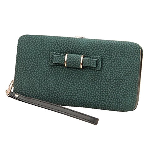 Litchi Prints Phone Wallet Case for Women Bow Leather Long Clutch Wallet Purse for 6 inch Cellphone Coin Card Pocket Wristlet Handbag (Dark Green) by Coolstar