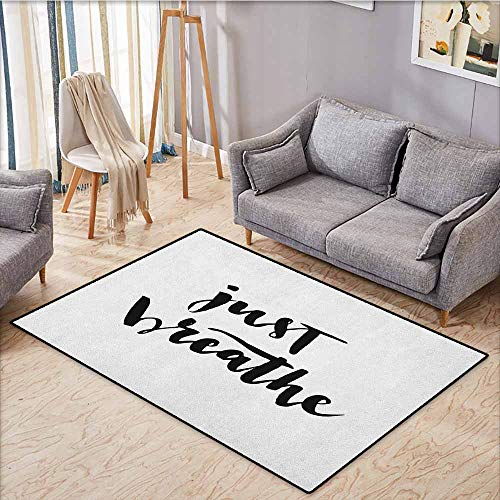 Living Room Rug,Just Breathe,Modern Brush Lettering in Black on White Background Releasing Tension Theme,Rustic Home Decor,5'3