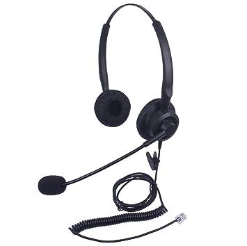 Xintronics Casque Téléphone Fixe Rj9 Dual Avec Micro Anti Bruit