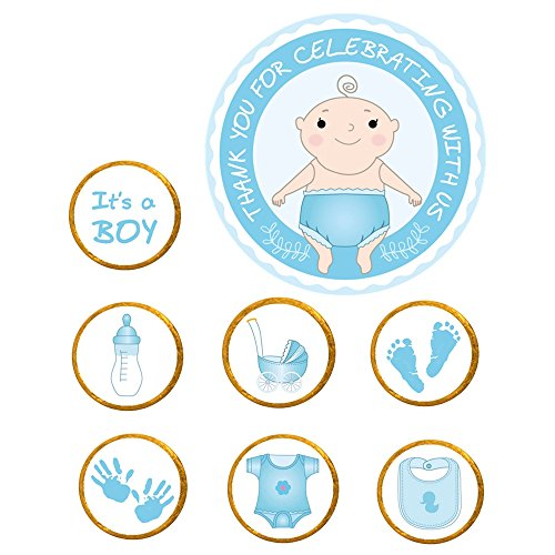 322-Pack Boy Baby Shower Stickers - Thank You for Celebrating with Us Labels Stickers for Chocolate Candy Baby Shower Favors Decorations (Blue)