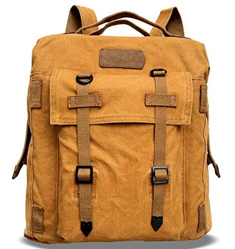 Dual Sport Canvas (Alilaw Heavy Duty Canvas Backpack / Rucksack, Dual Use, Vintage Style, 16 Inch, Brown, Unisex)