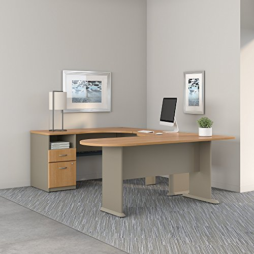 Series A U Shaped Corner Desk with Peninsula and Storage in Light Oak and Sage by Bush Business Furniture