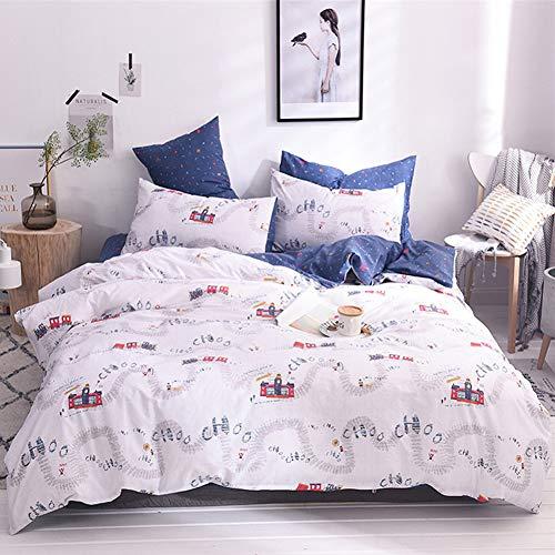 mixinni Little Train Kids Duvet Cover Set Twin Size for Boys Girls 100% Cotton Cartoon Print White/Blue Soft Bedding Set with Zipper Closure 1 Duvet Cover+2 Pillow Shams