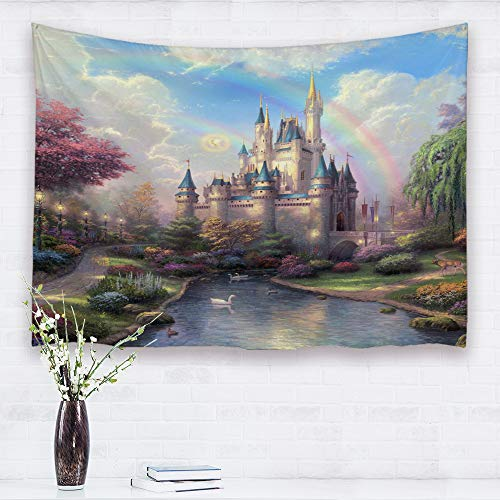 Baccessor Fantasy Castle Tapestry Colorful Rainbow Forest Princess Lake White Swan Fairy Tale World Wall Hanging Tapestry for Girls' Bedroom, 80