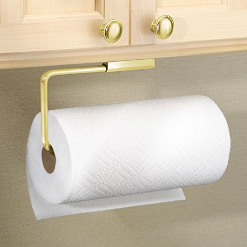 mDesign Metal Wall Mount Paper Towel Holder & Dispenser, Mounts to Walls or Under Cabinets - for Kitchen, Pantry, Utility Room, Laundry and Garage Storage - Holds Jumbo Rolls, Steel Wire - Gold Brass