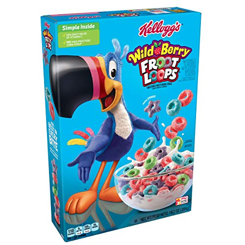 Kellogg's Froot Loops,Breakfast Cereal, Wild Berry,10.1 oz Box (Berry Cereal Wild)