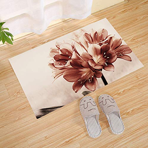 - JANNINSE Abstract Reddish Brown Bloom Flower Vertical Stripe Large Door Mat, Outdoor Indoor Rug For Terrace, Kitchen Bathroom, Water Absorption, Garage, Patio, Busy Traffic Area