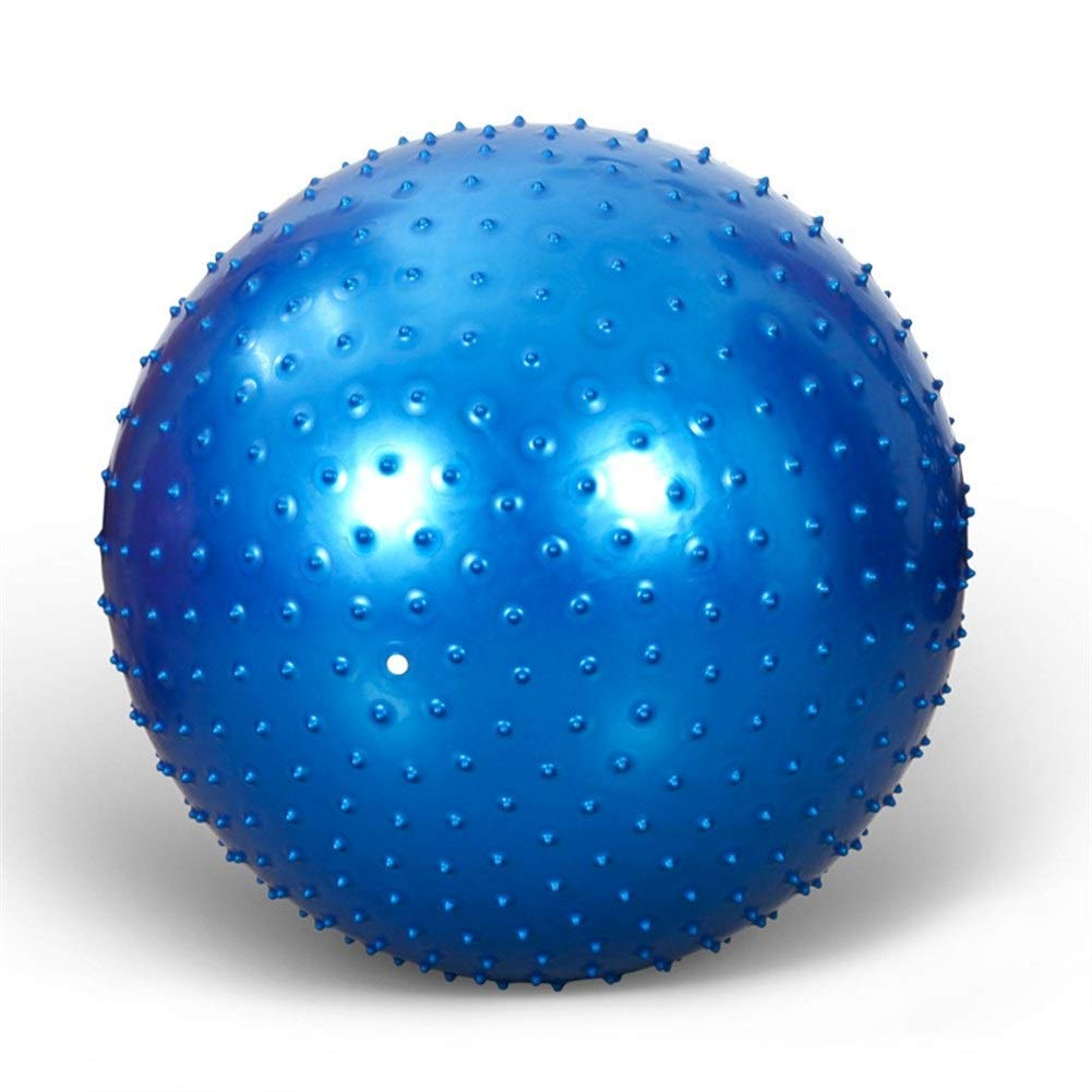Qzspsx Fitness Yoga Ball Air Ball Green PVC Thick Explosion-Proof Massage Yoga Ball 75cm Thorn Massage Yoga Ball Fitness Ball Gym Ball Non-Slip Yoga Air Pump Balls (Color : Blue, Size : 55cm)