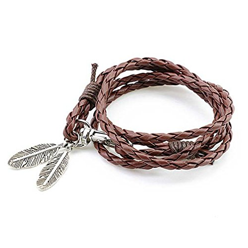 Olive Tayl Fashion Jewelry PU Leather Bracelets Charm Gift Bangles Multilayer Feather Bracelet Accessories Wedding Men Jewelry brown