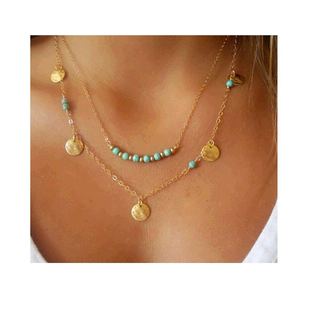 Ivy Morgan Multilayer Wafer and Turquoise Pendant Necklace Fashion Trend Temperament