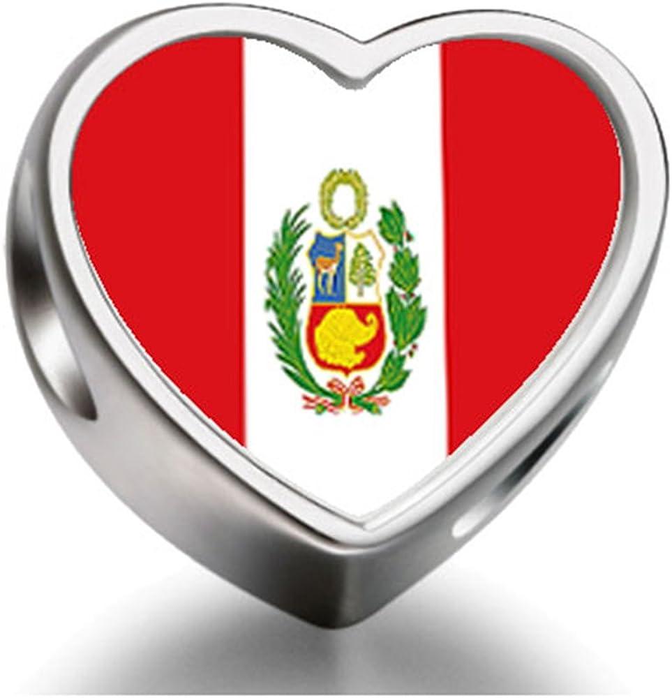 Bandera de Perú Soufeel Photo Charm Beads joyas en forma de corazón: Amazon.es: Joyería