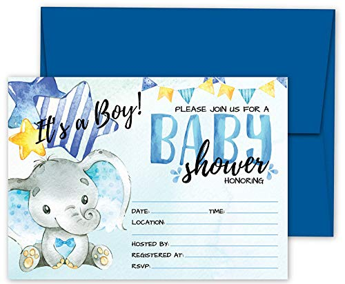 (Deluxe Blue Elephant Baby Shower Invitations, Jungle Tropical Safari Animals Invites 20 Large Double Sided 5 x 7 Cards with Blue Envelopes (Its A Boy,)