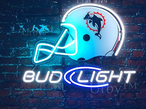 "Desung New 20""x16"" Miami Sports Team Dolphin Bud-Light Helmet Neon Sign (Multiple Sizes Available) Man Cave Bar Pub Beer Handmade Neon Light FX129"