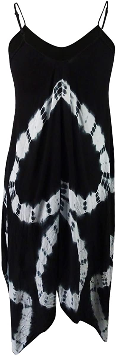 Raviya Tie-Dye Handkerchief Maxi Dress Cover-Up Black, Medium